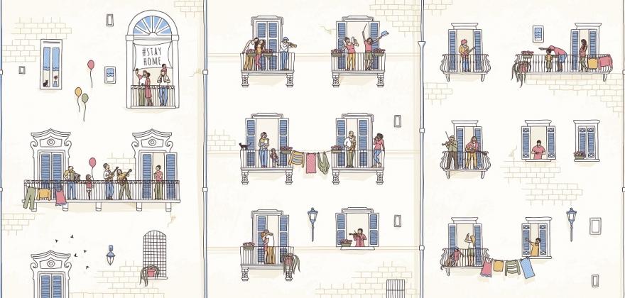 Dessin de voisins à leur fenêtre