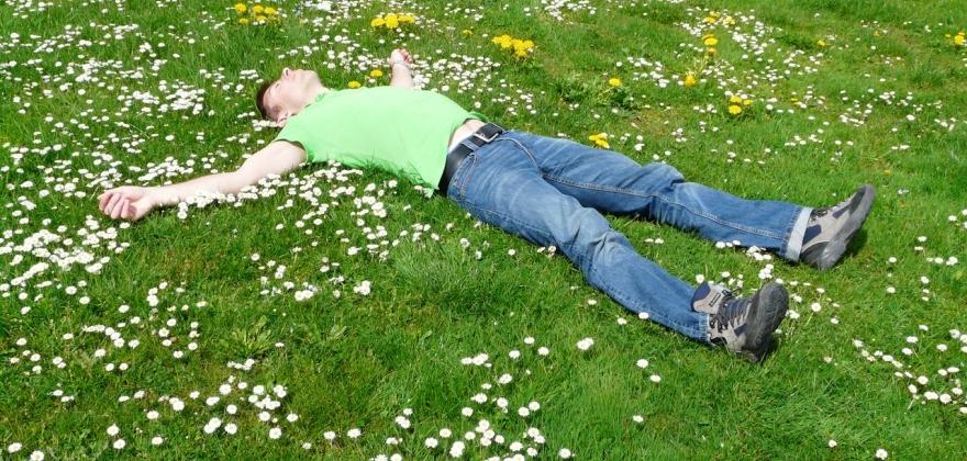 Homme allongé dans l'herbe